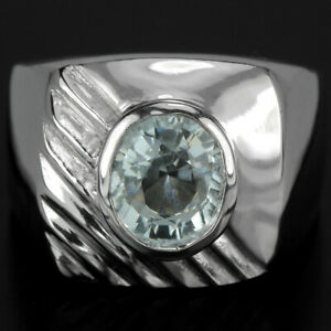 NATURAL AAA BLUE AQUAMARINE OVAL 9X7 MM. STERLING 925 SILVER SOLITAIRE RING 9.5