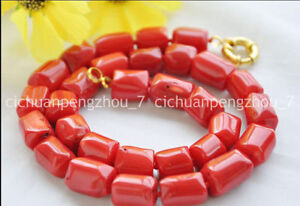 Beautiful 13-18mm Natural Red Coral Irregular Cylinder Beads Necklace 18''