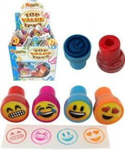 12 Emoji Face Ink Stamps - Pinata Toy Loot/Party Bag Fillers Children/Kids Happy