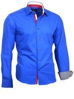 Herrenhemd Herren Hemd Shirt Kentkragen Langarm Binder de Luxe 82709 blau