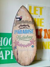 Surfboard Wooden Sign Summer Paradise Surf 58cm Wall Hanging Distressed Beach