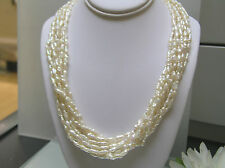 Multi strands narrow Rice pearl designer necklace Sterling silver clasp 19+2inch