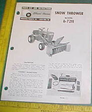 WHEEL HORSE SNOW THROWER 6-7211 INSTRUCT & PARTS LIST