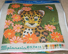 Leopard w/ Flowers & Butterfly Needlepoint Kit 14x14""