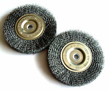 """2 Ate Professional 6"""" Steel Wire Wheel Brushes For Bench Grinder 5/8 1/2 Arbor"""