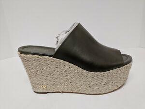 Michael Kors Cunningham Wedge Sandals, Olive, Womens 7.5 M