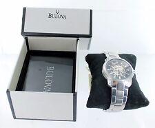 Bulova 96A141 Men's Black Skeleton Dial Steel Bracelet 21 Jewels Automatic Watch