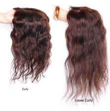 Loose Curly/ Curly 100% Human Hair Topper Hairpiece Toupee Top Piece For Women
