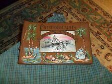 Vintage PANAMA Leather Bound Photo Album Book W/ GATUN LOCKS Silk Print