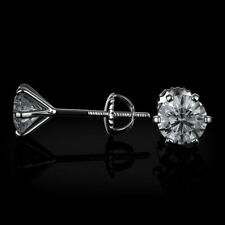 4 Carat Round Diamond F/SI1 Stud Earrings Enhanced 14K White Gold SPECIAL OFFER