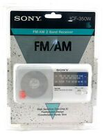 Sony ICF-350W AM/FM Portable Radio 2 Band Receiver White Vintage New