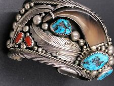 Vintage Navajo Faux Bear Claw Sterling Bracelet Bisbee Turquoise Red Coral Signe