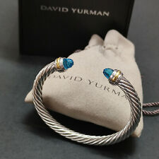 David Yurman Sterling Silver 14K Gold  7mm Blue Topaz Classic Cable Bracelet