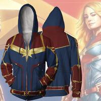 2019 Movie Captain Marvel Unisex Hoodie Sweatshirt Coat Jacket Cosplay Costume