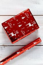 Christmas wrapping paper roll, Metallic effect xmas wrap 2 x 4m rolls + 10 tags
