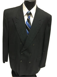 Brioni Italy Men Charcoal Sport Coat Double Breasted Jacket Wool Suit Blazer 46