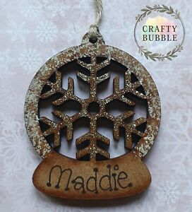 HANDMADE PERSONALISED SNOWFLAKE CHRISTMAS TREE BAUBLE ORNAMENT.WOODEN