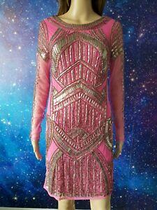 BNWT RIVER ISLAND fuchsia beaded sequins promo evening dress RRP £80 size 10 271