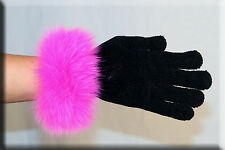 New Black Chenille Gloves Pink Fox Fur Trim - Efurs4less