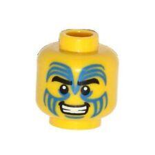 LEGO - Minifig, Head Face Paint w/ Blue Swirls, Black Eyebrows & Grin Pattern