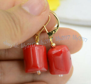 Beautiful 10x13mm Natural Cylinder Red Coral Gems Dangle Gold Leverback Earrings