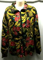 Signature Jacket XL Womens Vintage Lined Roses Tassels Red Gold Green