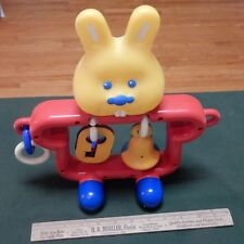 Vintage Bb Hard Plastic Rabbit Bunny on Wheels with Rubber squeeky head baby toy
