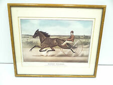 Vintage Reprinted Currier & Ives Harry Wilkes Horse Buggy Hanging Wall Art Print