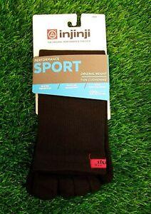 Injinji Run Socks Performance Sport Original Weight Crew Black
