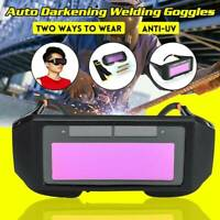 Solar Auto Darkening Welding Helmet Eye Goggles Welder Glasses 2x Lens