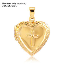 Childrens Cross Locket Heart Pendant Fit necklace Yellow Gold Filled jewelry Hot