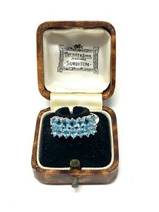 Brilliant Vintage Sterling Silver 925 Blue Topaz Gemstone Ring Size Q #823