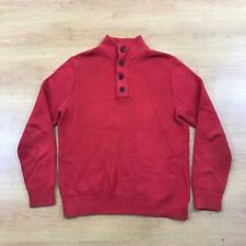 """Tommy Hilfiger Button Neck Chunky Knit Jumper Sweater Red Large L 46"""" Chest"""