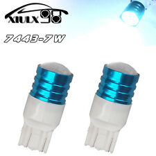 2x White 7443 7440 High Power 7W LED Tail Brake Stop Backup Reverse Light Bulbs