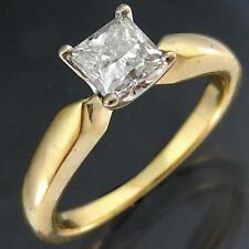 Quality Solid 18k Yellow GOLD PRINCESS DIAMOND SOLITAIRE RING Val=$4100 Sz L