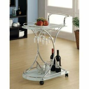 White Glass Metal Beverage Cart Serving Bar Rolling Wine Storage Portable Party