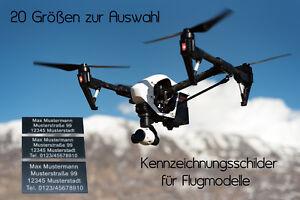 EU Drohnen Kennzeichnung, Kennzeichen, Plakette, Schild, Flugmodell, ab 20x8mm