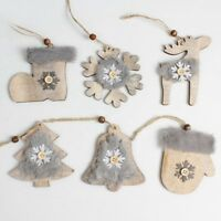Cute Furry Snowflake Wooden Christmas Tree Pendant Hanging Ornaments Decor @MY