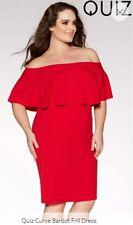 BNWT Vibrant red quiz curve bardot dress, size 16. Look!