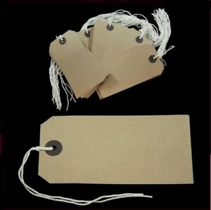 Strung Tags 70 x 35mm String Tie On Reinforced Labels Craft / Gift ST1