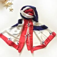 180*90cm Silk Scarf Women Shawls New Fashion Long Blue and White Airplane Pure