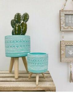 Rustic Blue Ceramic Plant Pots Geometric Indoor Planter Flower Succulent Holder