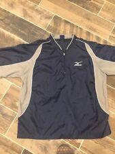 Mizuno Men's Baseball Golf Blue Vented Windbreaker Pullover 1/4 Zip Jacket Sz M