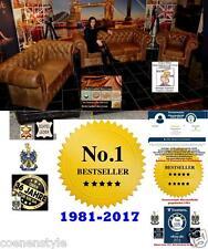 Chesterfield Rinder Leder Garnitur Aniline E800 Chestnut Vintage