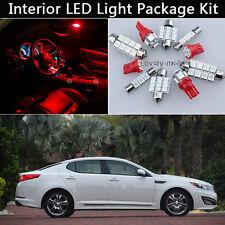 9PCS Bulbs Red LED Interior Car Lights Package kit Fit 2011-2014 Kia Optima J1
