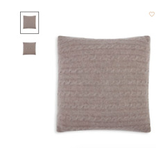 """Magaschoni Cable Knit Decorative Pillow 100% Cashmere Stone heather 18"""" NWT"""