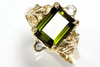 2.6 ct tw Natural Green Tourmaline & Diamond Solid 14k Yellow Gold Cocktail Ring