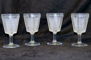 Fostoria Paneled Diamond Point Crystal Goblets  Water Glasses Set of 4