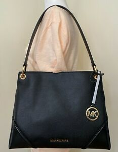 Michael Kors Nicole Black Pebbled Leather Medium Shoulder Tote Bag Purse