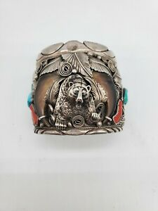 VINTAGE  SOUTHWEST CUFF BY M. THOMAS JR.  TURQUOISE & CORAL STERLING
